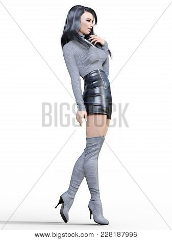 3d Beautiful Woman In Short Black Leather Skirt And Long Boots.gray Pullover.bright Makeup.woman Stu