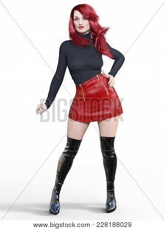3D beautiful woman short red leather skirt and long boots.Black pullover.Bright makeup.Woman studio