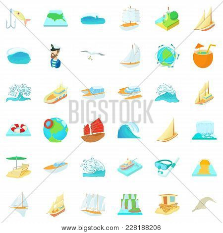 Mineralized Water Icons Set. Cartoon Set Of 36 Mineralized Water Vector Icons For Web Isolated On Wh