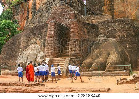 Sigiriya Rock, Sri Lanka - September 6, 2003: Schoolchildren Exploring The Ancient Sri Lankan Rock F