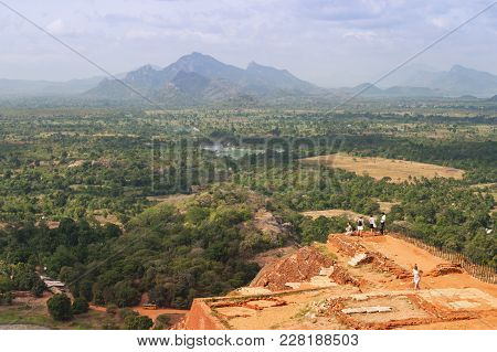 Sigiriya Rock, Sri Lanka - September 6, 2003: The View From The Summit Of The Ancient Sri Lankan Roc