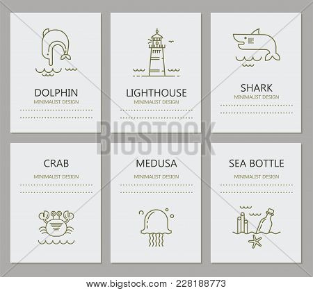 Set Of Cards With Icons Of Marine Life. There Is A Place For Text