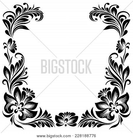 Vector  Rectangular Frame For Design With A Stylized Floral Ornament, Black And White Decoration In