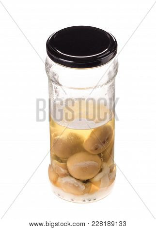 Tainted Canned Mushrooms. Isolated On The White Background.