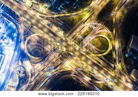 Night Traffic Aerial View Vehicle Light Movement Junction