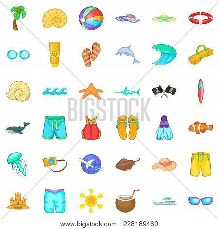 Aqua Icons Set. Cartoon Set Of 36 Aqua Vector Icons For Web Isolated On White Background