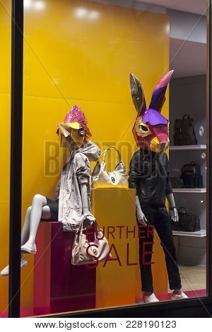 London, England - July 12, 2016 Fancy Clothing On Mannequins In A Store In London.