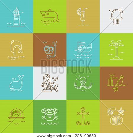 Set Of Web Icons For Sea Travel, Vacation, Underwater World