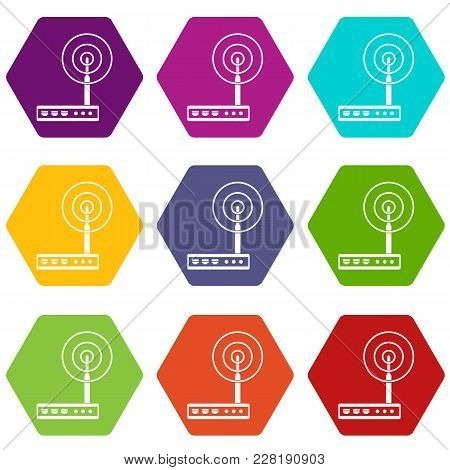 Wifi Router Icon Set Many Color Hexahedron Isolated On White Vector Illustration