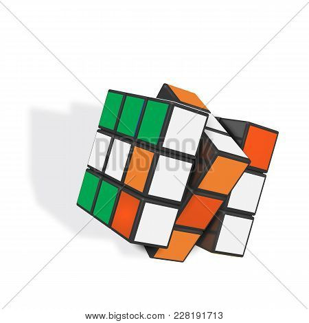 Minsk, Belarus, 8 February 2018 . Editorial Vector Illustration. Rubik S Cube Is A 3d Combination Pu