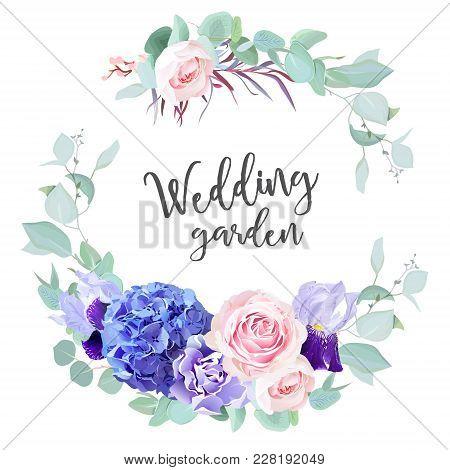 Purple Hydrangea, Pink Rose, Violet Iris, Carnation, Blue Mint Eucalyptus, Agonis And Greenery  Vect