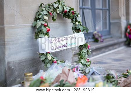 Copenhagen, Denmark - February 17, 2108: Flowers Placed In Front Of Amalienborg Palace In Respect Fo