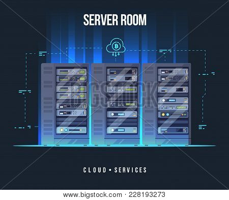Data Center And Server Room. Data Storage And Exchange Service Flat Illustration. Cloud Service Equi