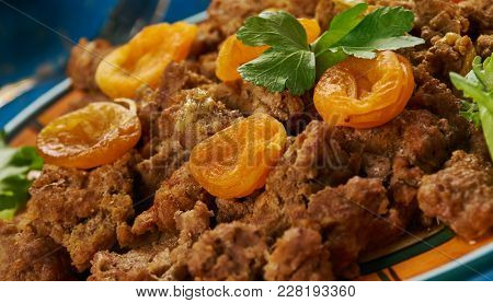 Kalahari Mince Curry, South African Cuisine , Traditional Assorted Dishes, Top View.