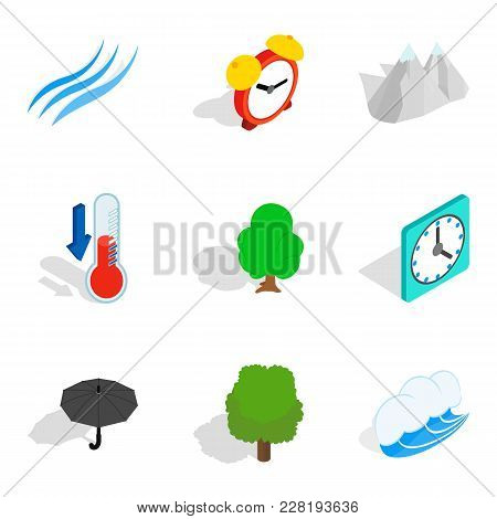 Storm Front Icons Set. Isometric Set Of 9 Storm Front Vector Icons For Web Isolated On White Backgro