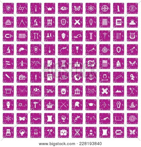 100 Archeology Icons Set In Grunge Style Pink Color Isolated On White Background Vector Illustration