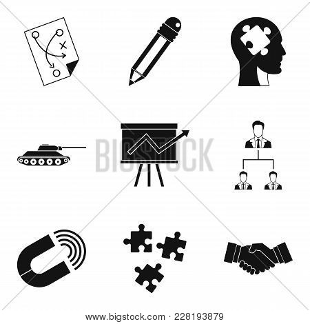 Work Strategy Icons Set. Simple Set Of 9 Work Strategy Vector Icons For Web Isolated On White Backgr