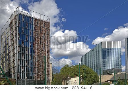 London, England - July 12, 2017 Modern Multi-storey Houses Near Canary Wharf