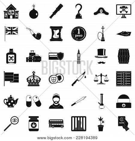 Offence Icons Set. Simple Set Of 36 Offence Vector Icons For Web Isolated On White Background