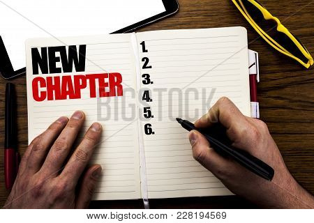 Word, Writing New Chapter. Business Concept For Starting New Future Life Written Book, Wooden Backgr