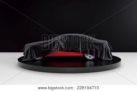 New Red Car Hidden Under Black Cover On Black And White Background. 3d Rendering