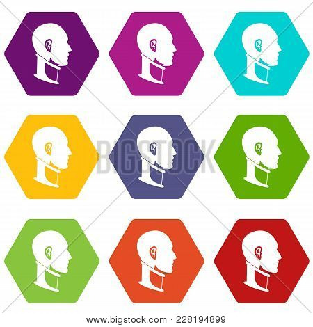 Cervical Collar Icon Set Many Color Hexahedron Isolated On White Vector Illustration