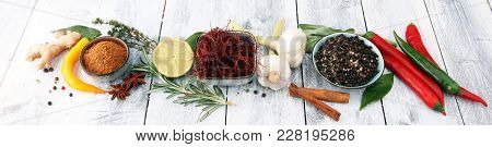 Spices And Herbs On White Background. Food And Cuisine Ingredients.