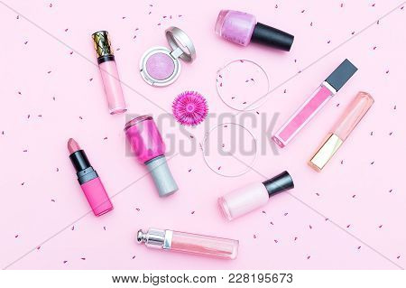 Pink Make-up Cosmetics On A Pink Background. Flat Lay