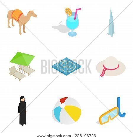 Hospitality Sector Icons Set. Isometric Set Of 9 Hospitality Sector Vector Icons For Web Isolated On