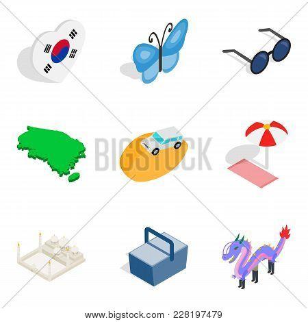 Suburban residence icons set. Isometric set of 9 suburban residence vector icons for web isolated on white background poster