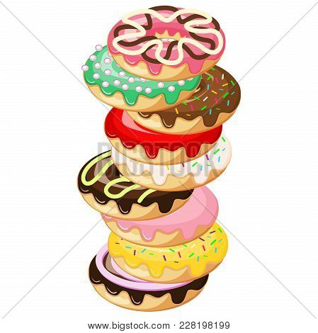 Stack Of Donuts. Donut With Mint Green Frosting And Pink Strawberry Ball Sprinkles, Dark Chocolate M