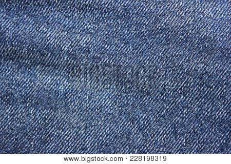 Denim Jean Fabric Texture Background. Dark Blue Vintage Jeans Close Up Natural Pattern Fabric, Linen