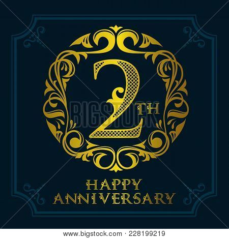 2th Anniversary Celebration Logo Symbol. Golden Circular Editable Emblem On Dark Blue