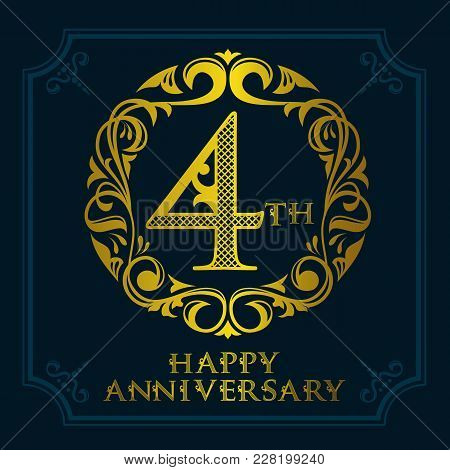 4th Anniversary Celebration Logo Symbol. Golden Circular Editable Emblem On Dark Blue