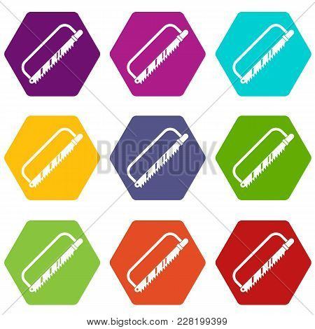 Sergical Saw Icon Set Many Color Hexahedron Isolated On White Vector Illustration