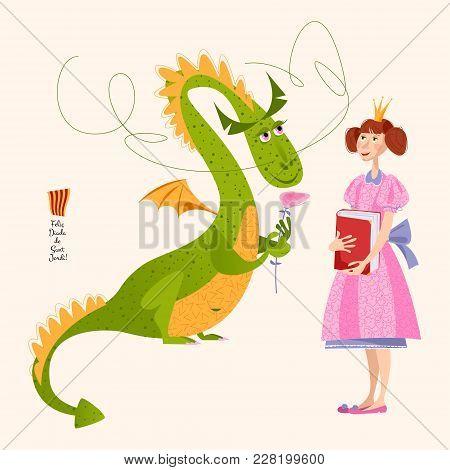 Princess With A Book  And Dragon With A Rose.diada De Sant Jordi (the Saint George's Day). Dia De La