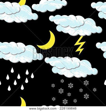 World Meteorological Day. Seamless Pattern. Seamless Pattern. For Night Time. Clouds, Moon, Rain, Sn