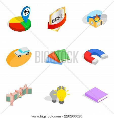 Finest Work Icons Set. Isometric Set Of 9 Finest Work Vector Icons For Web Isolated On White Backgro