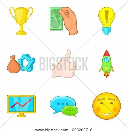 Business Entrepreneur Icons Set. Cartoon Set Of 9 Business Entrepreneur Vector Icons For Web Isolate