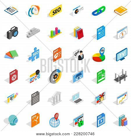 Trading Firm Icons Set. Isometric Set Of 36 Trading Firm Vector Icons For Web Isolated On White Back
