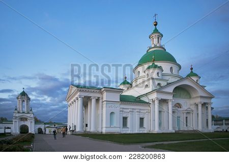 Rostov, Russia - 11 September 2017 , Rostov Veliky. Spasso-yakovlevsky Monastery On Lake Nero. Golde