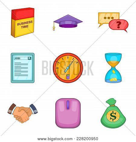 Successful Team Business Icons Set. Cartoon Set Of 9 Successful Team Business Vector Icons For Web I