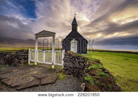 Entry Gate And Black Wooden Church Of Budir In Iceland