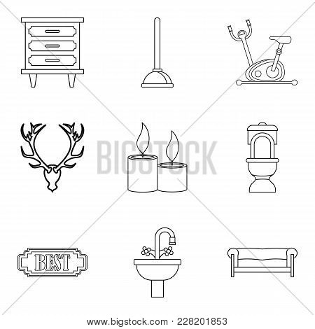 Room Service Icons Set. Outline Set Of 9 Room Service Vector Icons For Web Isolated On White Backgro