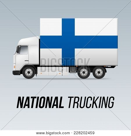 Symbol Of National Delivery Truck With Flag Of Finland. National Trucking Icon And Finland Flag