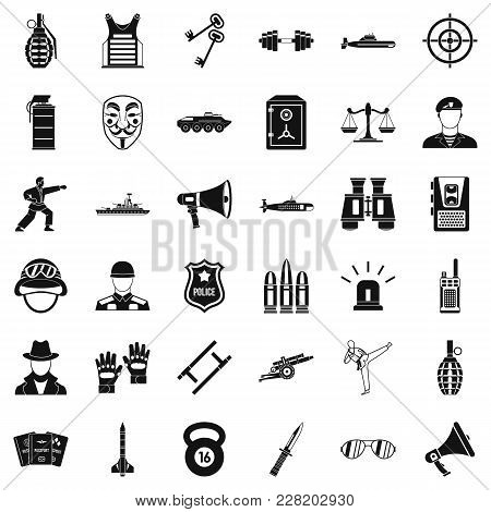 Militia Officer Icons Set. Simple Set Of 36 Militia Officer Vector Icons For Web Isolated On White B