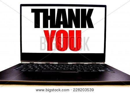 Handwritten Text Showing Thank You. Business Concept Writing For Gratitude Thanks Written On Monitor