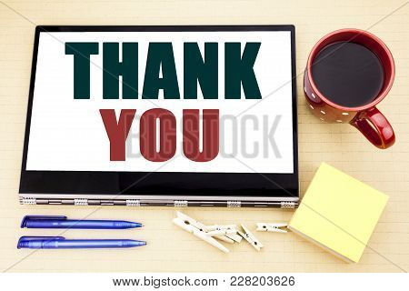 Hand Writing Text Caption Inspiration Showing Thank You. Business Concept For Gratitude Thanks