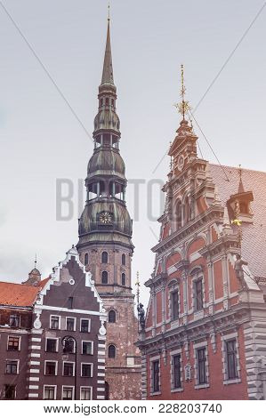 St. Peter Church And House Of The Blackheads In Riga. Riga, Latvia