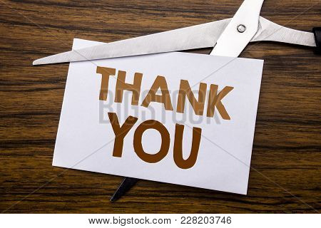 Hand Writing Text Caption Inspiration Showing Thank You. Business Concept For Gratitude Thanks Writt